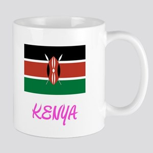 Kenya Flag Artistic Pink Design Mugs