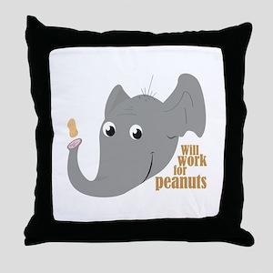 Elephant Peanut Throw Pillow