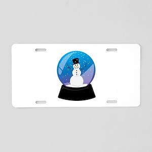 Snowman Snowglobe Aluminum License Plate