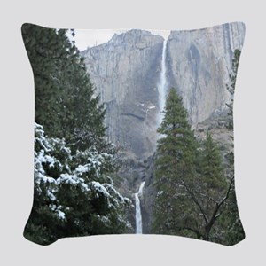 Yosemite Falls in Winter Woven Throw Pillow