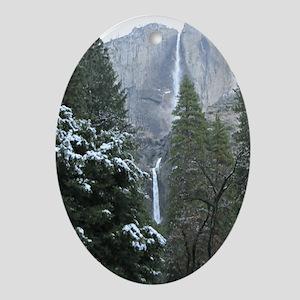 Yosemite Falls in Winter Ornament (Oval)