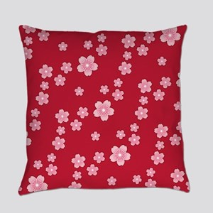 Cherry Blossoms Red Pattern Master Pillow