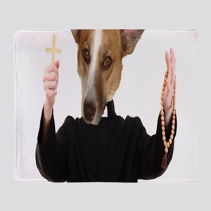 disciple dog ready for an exorcism Throw Blanket