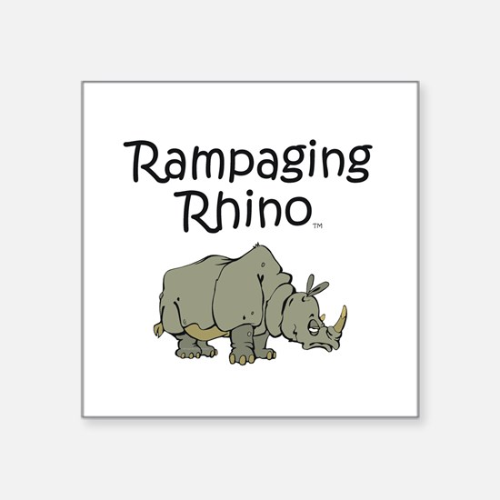 "Rampaging Rhino Square Sticker 3"" x 3"""
