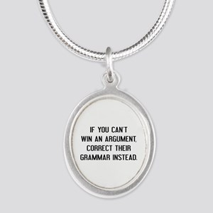 If You Can't Win An Argument Silver Oval Necklace