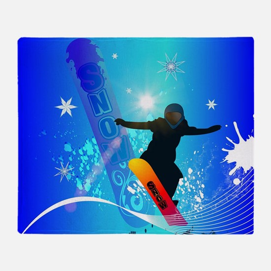 Snowboarding, snowboarder with board on blue backg