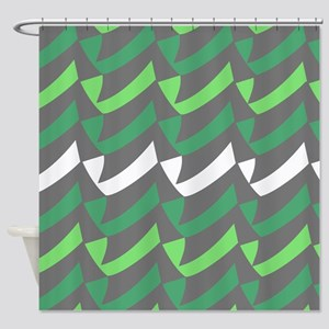 Green Gray Check Mix Shower Curtain