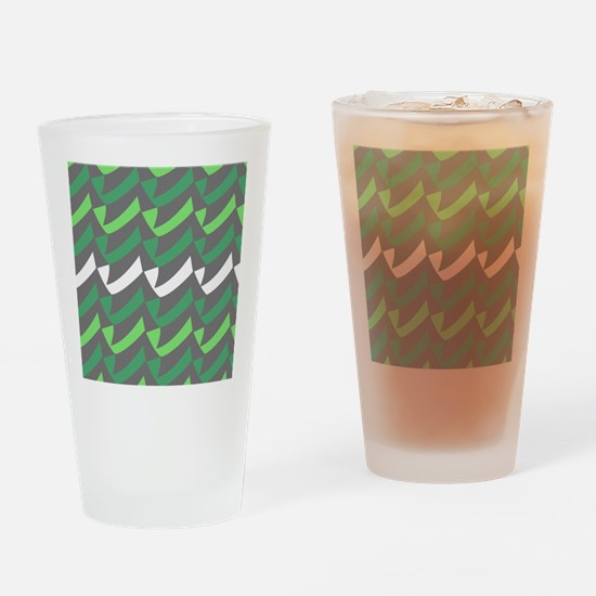 Green Gray Check Mix Drinking Glass