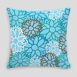 Dahlia Flower Turquoise Pattern Master Pillow