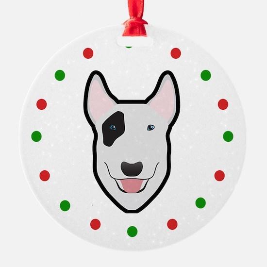 Bull Terrier, Happy Holidots Ornament