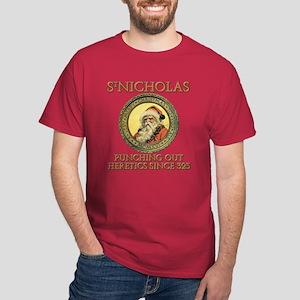 SANTA PUNCHES HERETICS Dark T-Shirt