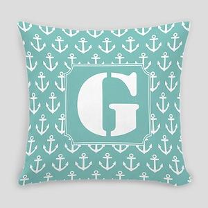 Monogram Letter G anchor nautical Master Pillow