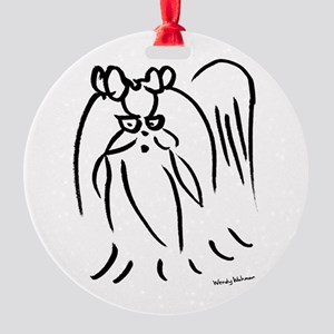 Little long hair dog Round Ornament