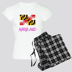 Maryland Flag Artistic Pink Design Pajamas