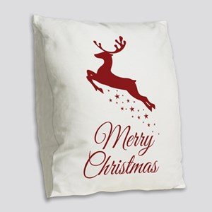 Reindeer Christmas Magic Burlap Throw Pillow