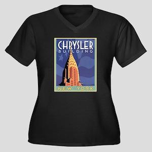 NY, Chrysler Building Women's Plus Size V-Neck Dar