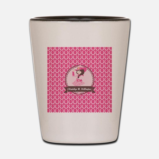 Pink Cowgirl Horseshoe Pattern Personal Shot Glass
