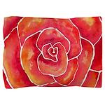 Red Orange Rose Watercolor Pillow Sham