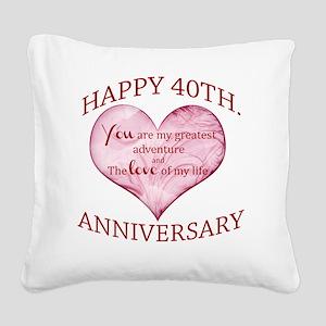 40th. Anniversary Square Canvas Pillow