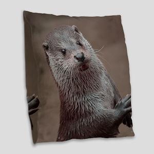 Sweet young Otter Burlap Throw Pillow