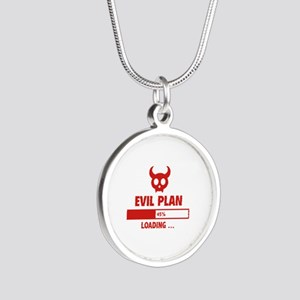 Evil Plan Loading Silver Round Necklace