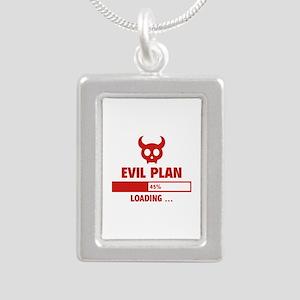 Evil Plan Loading Silver Portrait Necklace