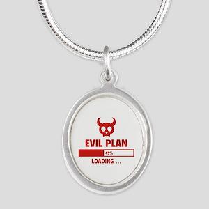 Evil Plan Loading Silver Oval Necklace