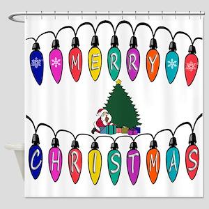 Merry Christmas Santa Tree Shower Curtain
