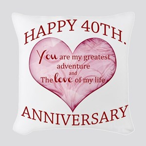 40th. Anniversary Woven Throw Pillow