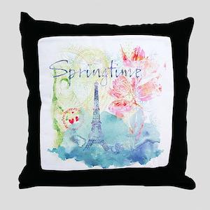 Paris Springtime Throw Pillow