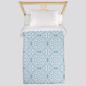Aquamarine & White Lace Tile 2 Twin Duvet