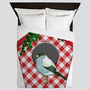 Chickadee on Red Gingham Ivy Covered H Queen Duvet