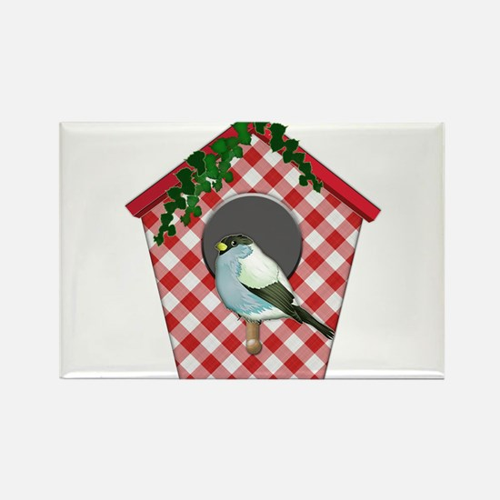 Chickadee on Red Gingham Ivy Covered House Magnets