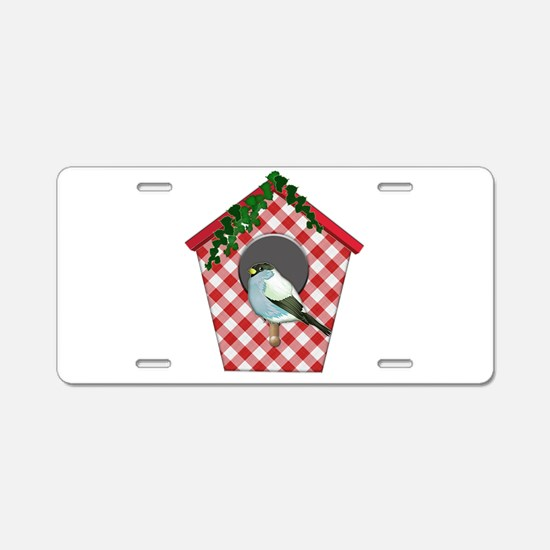 Chickadee on Red Gingham Iv Aluminum License Plate