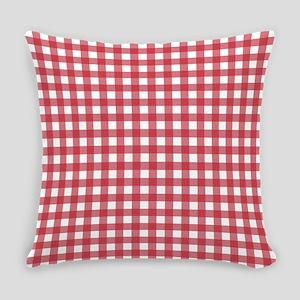 Gingham Checks Red White Master Pillow