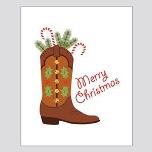 Western Cowboy Boot Merry Christmas Posters