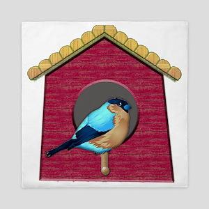 Bluebird on Barn Red House Queen Duvet