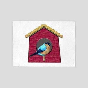Bluebird on Barn Red House 5'x7'Area Rug