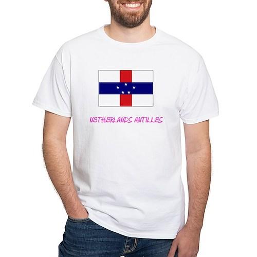 Netherlands Antilles Flag Artistic Pink De T-Shirt