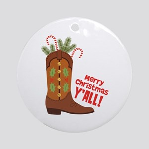 Western Cowboy Boot Merry Christmas Slang Ornament