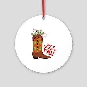 Western Cowboy Boot Merry Christmas Slang Ornament