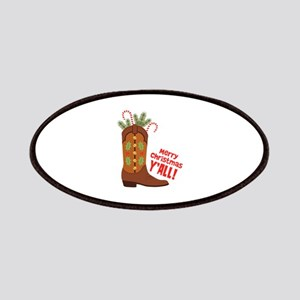 Western Cowboy Boot Merry Christmas Slang Patches