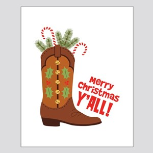 Western Cowboy Boot Merry Christmas Slang Posters