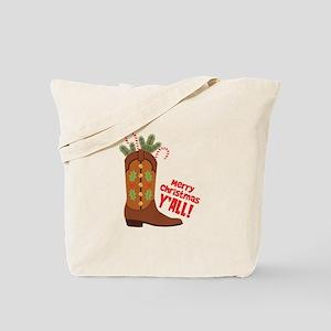 Western Cowboy Boot Merry Christmas Slang Tote Bag
