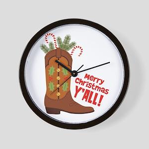 Western Cowboy Boot Merry Christmas Slang Wall Clo