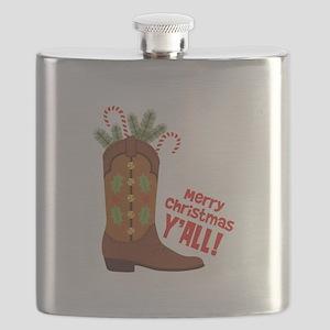 Western Cowboy Boot Merry Christmas Slang Flask