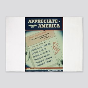 world war 2 poster art 5'x7'Area Rug