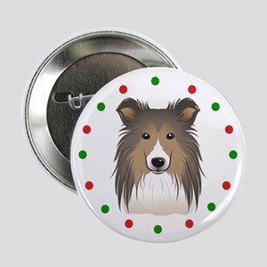 "Sheltie, Happy Holidots 2.25"" Button (10 pack)"