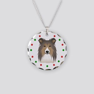 Sheltie, Happy Holidots Necklace Circle Charm