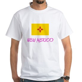 New Mexico Flag Artistic Pink Design T-Shirt